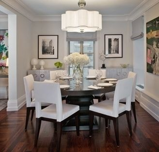 White Contemporary Dining Room With Dark Wood Floors Love The Flower Shaped Light Fixture And Contrast Of Table Chairs