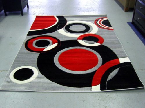 Modern-Red-Black-White-Pile-Cut-Design-5x8-Area-Rug-Carpet-NEW