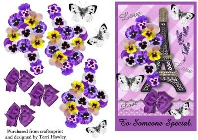 A great 3D card front that is easy to make, and can be sent for so many reasons to that special person.  has the Eiffel tower, lots of pansies and butterflies