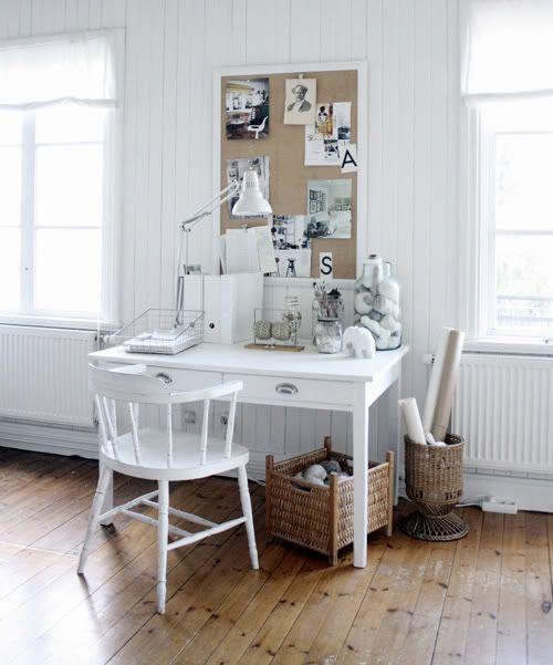 White desk. White chair.