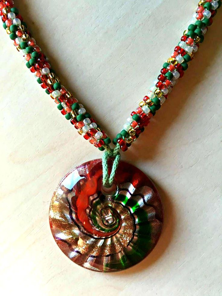 Kumhimo beaded necklace Christmas mix with Murano Glass pendant by AxetteDesign on Etsy