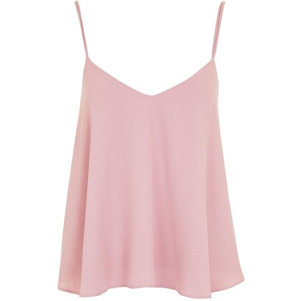 TopShop Rouleau Swing Camisole Top (£24) ❤ liked on Polyvore featuring tops, shirts, topshop, spaghetti-strap tops, cami top, pink cami top, pink top and long tops