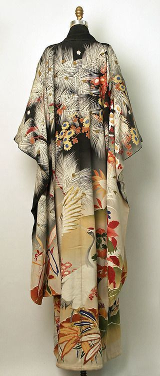 """""""Silk 'Furisode' (long-sleeved kimono worn by young unmarried women). Meiji or Taisho periods (1868-1927), Japan. MET Museum (Met dates this garment at 1850-1950, which is very broad) (Gift of Mrs. Ray C. Kramer, 1958)"""""""