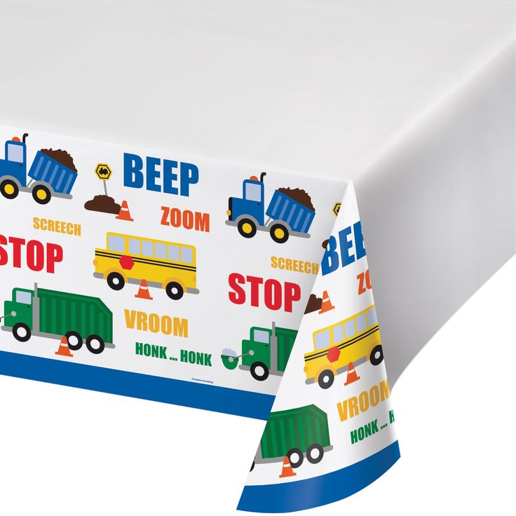 Traffic Jam Tablecloth, City Cars Plastic Table cover, Cars and Trucks Party Dinnerware, Table cloth