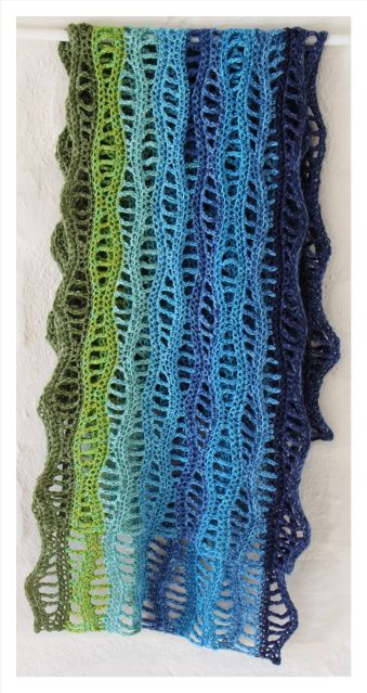 pattern from Ravelry Nancy Waves Scarf but crocheted lengthwise instead of crosswise