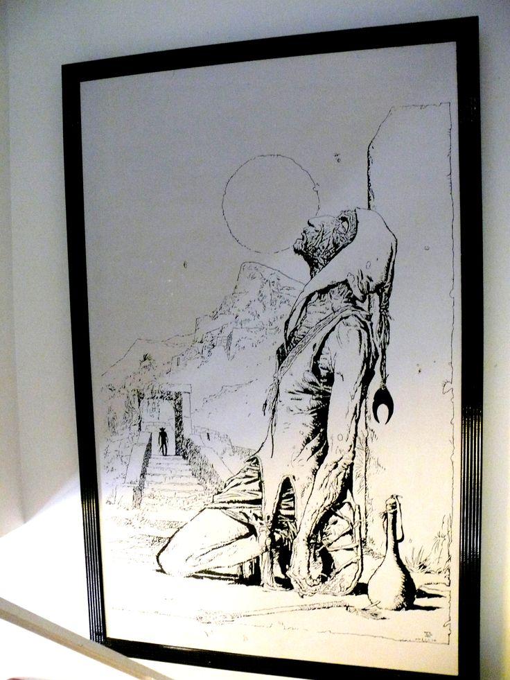 Dibujo realizado sobre chapadur blanco de 1,2x2,2mtrs realizado con pincel y plumin con esmalte sintético negro.