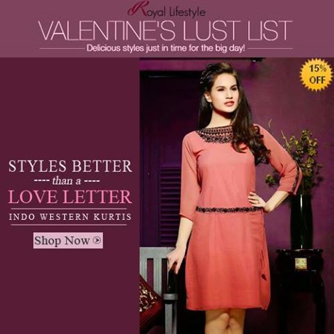 CELEBRATE LOVE -- CELEBRATE YOUR VALENTINE <3 <3 Make yourself feel special with our FLAT 15% OFF #Sale this #valentine.. Grab in the #suits, #sarees, #lehenga #choli & #kurtis all @ Flat 15% off..