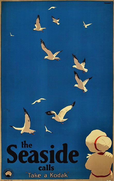 Vintage Kodak Ad- Percy Trompf: The Seaside Calls, ca. 1935.