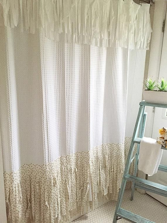Shabby Chic Shower Curtain Bohemian Bathroom Curtains Hand Made Fringe Gold With White 82 Long Shabbychicbathrooms