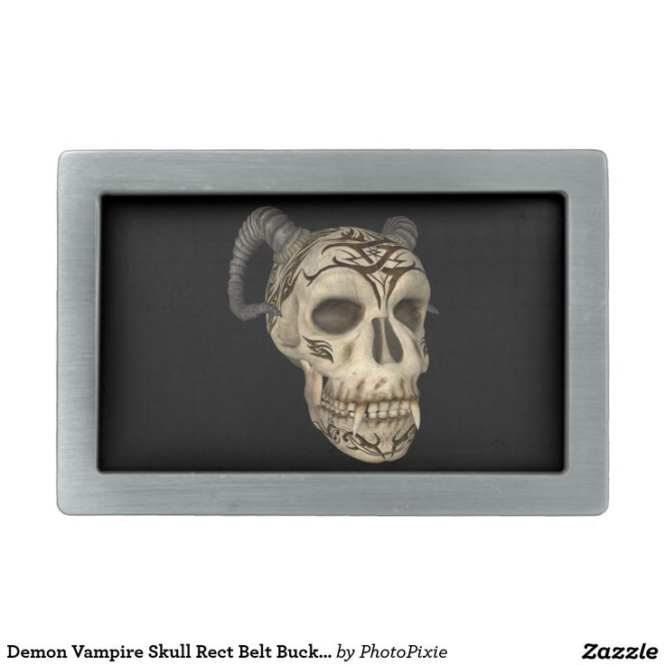 Demon Vampire Skull Rect Belt Buckle
