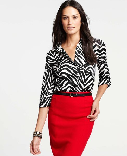 Red with zebra print is so chic, especially for Clears! Zebra Print Rolled Sleeve Shirt looks great with the red pencil skirt.