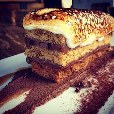 s'mores with hazelnut graham, milk chocolate truffle, homemade vanilla mashmallow | Abigaile
