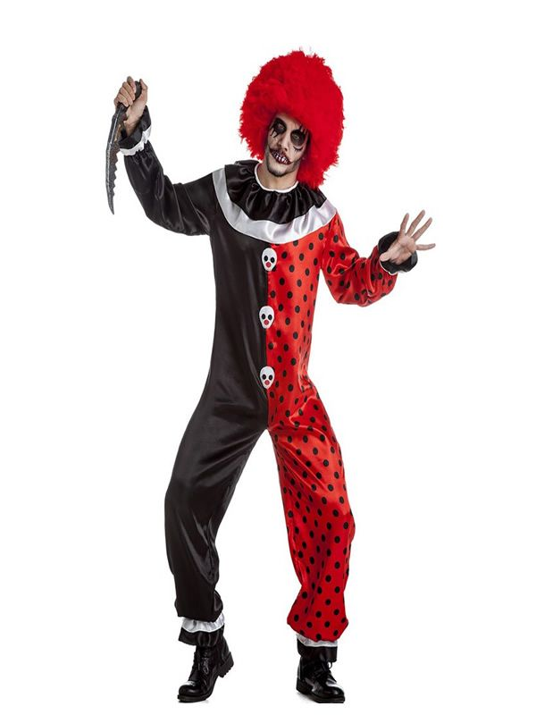 El disfraz de payaso diabolico para hombre, incluye Mono y cuello. en DisfracesMimo.com