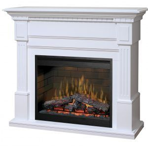 DF3015 Insert with Fixed Glass Front White Mantel Finish Dimplex Electric Fireplace Multi-Function Remote Control Log Set Included 120V Plugin All LED Technology