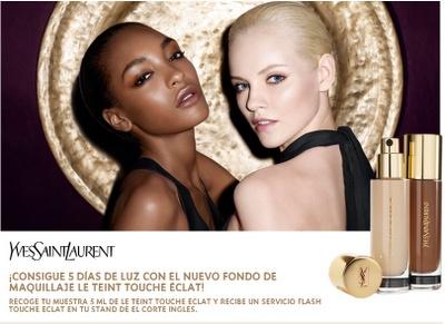 Yves Saint Laurent te trae esta promoción en la que te regalan una muestra gratis de su fondo de maquillaje Le Teint Touch Eclat. Promoción válida para España hasta Agotar existencias (24.000 unidades).