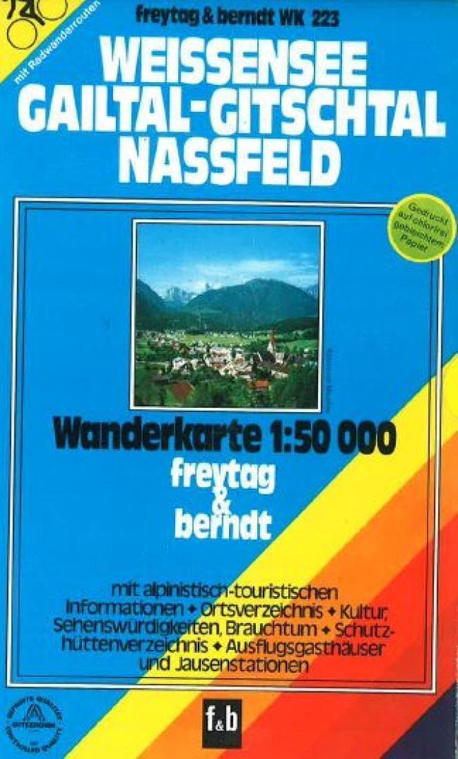 Weissensee, Gailtal-Gitschtal, Nassfeld, WK 223 by Freytag-Berndt und Artaria