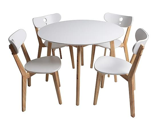 Set de mesa y 4 sillas en madera de roble y lacadas for Sillas comedor nordicas