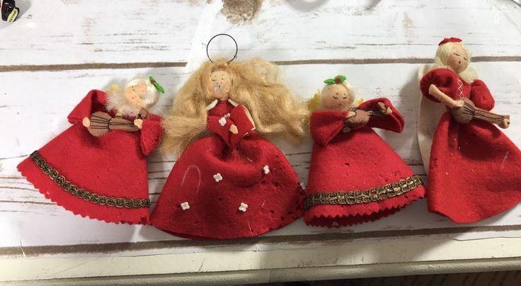 4 VINTAGE FELT COVERED  ORNAMENTS, CHOIR ANGELS, Red Christmas Xmas