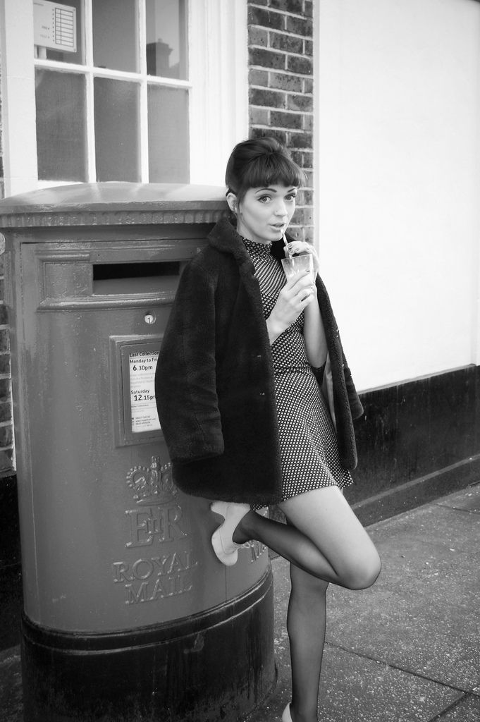 Yours Truly x, 1960s, fashion, vintage style, photography, hair, mini dress, fur coat, hairstyle, up do, mini beehive