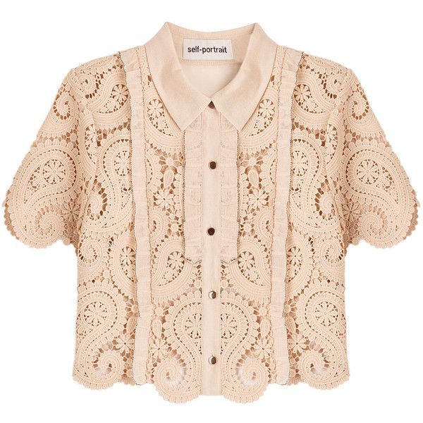 Self-Portrait Paisley Guipure Cropped Shirt (¥27,510) ❤ liked on Polyvore featuring tops, shirts, crop top, beige, scalloped shirt, beige top, beige crop top and beige lace top