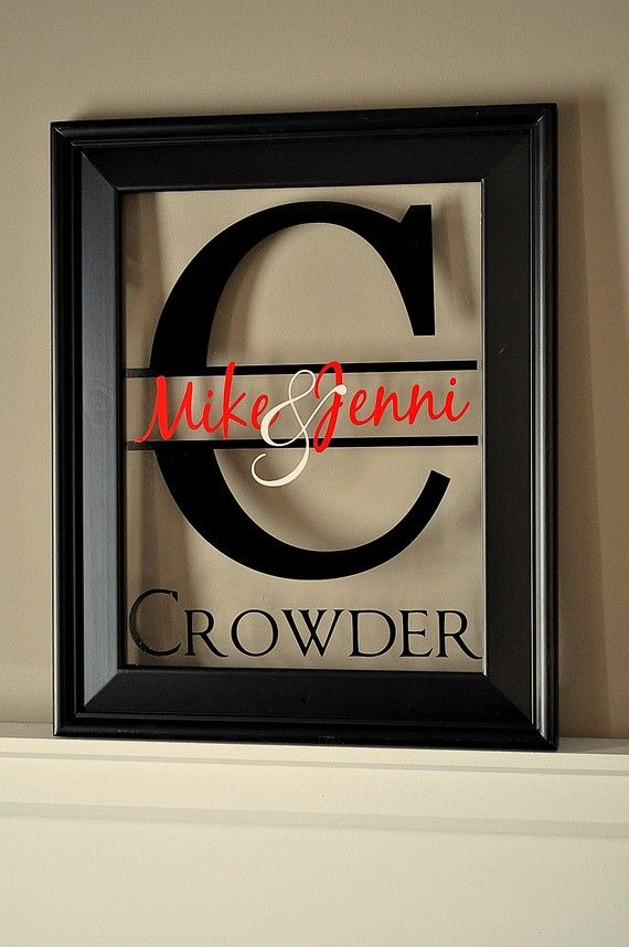 wedding gift idea (and one more reason why I need to buy a Cricut or Silhouette...) Gift Ideas, Vinyls Letters, Cute Ideas, Picture Frames, Diy, Pictures Frames, Cricut, Crafts, Wedding Gifts