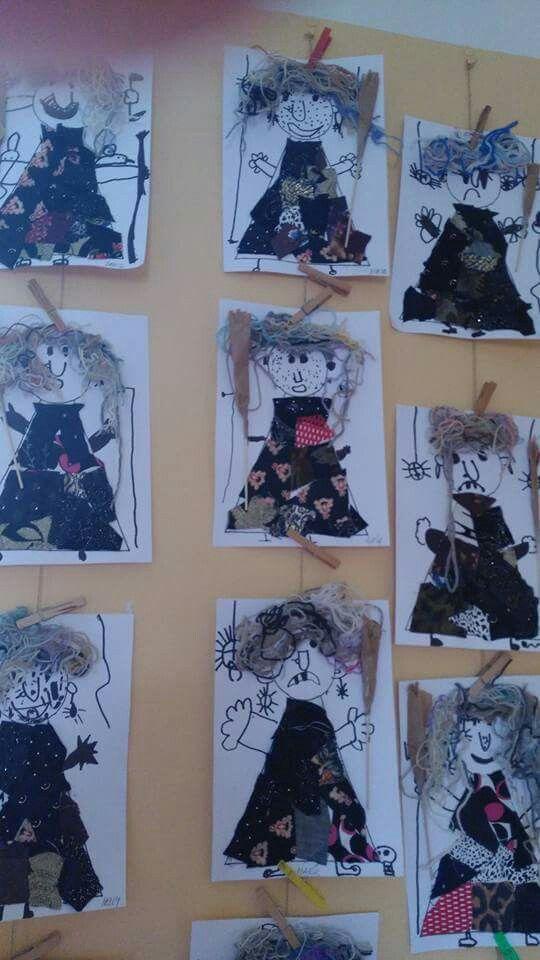 Heksen met zwarte fineliner, 'lapjes' en wol