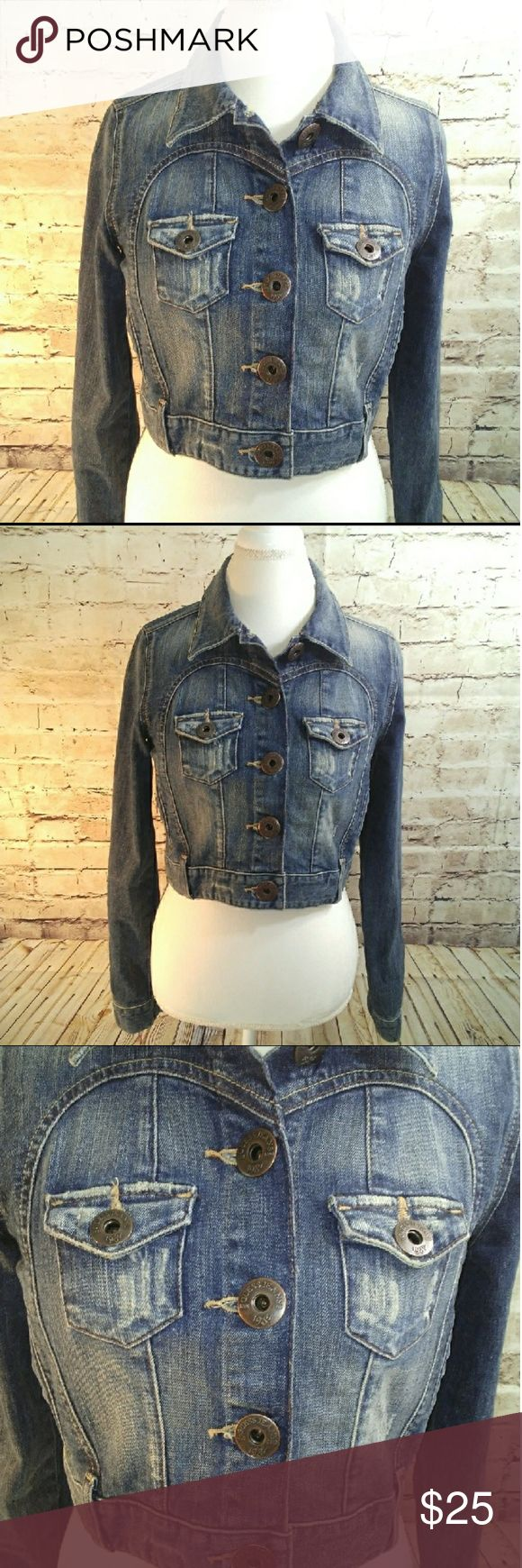 """[Guess]Denim Jean Jacket Distressed Cropped Like new condition. 18"""" Arm pit to arm pit 16"""" Length24 1/2 Sleeves.  *No rips, stains, tears or flaws- *All measurements are takin laying flat and are approximate. *Colors may vary from screen to screen Guess Jackets & Coats Jean Jackets"""
