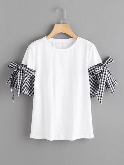 Camiseta de cuadros con detalle de lazo