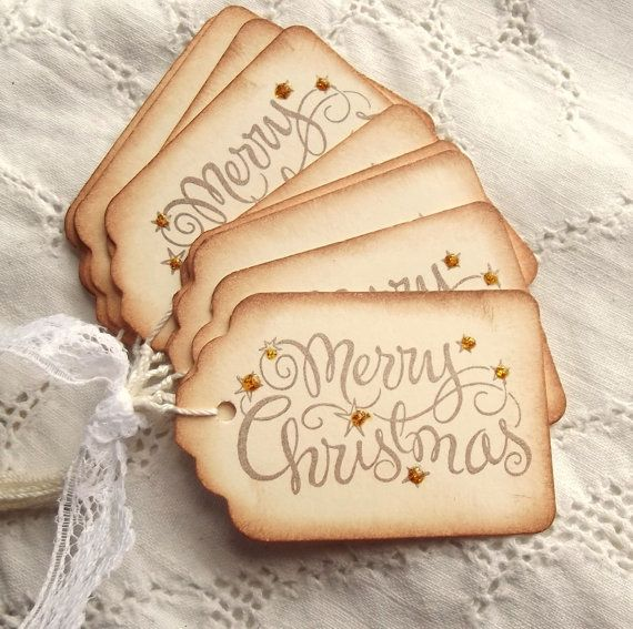 Merry Christmas Tags - Gold Sparkle, Stamped, Cream, Brown 8