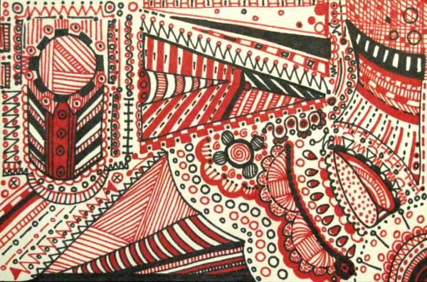 Red Themed Zentangle for Swap-Bot