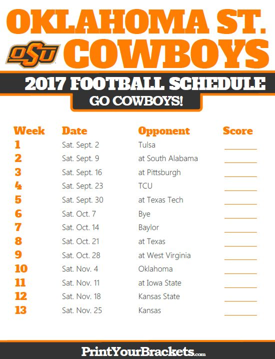 2017 Oklahoma State Cowboys Football Schedule
