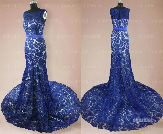 lace prom dresses royal blue prom dresses prom dresses by okbridal, $268.00