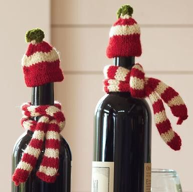 Quickly knitted caps and scarves for wine bottles - hostess gifts for the holidays.  Source: blog Older And Wisor: 31 Ways To Wrap Your Crap