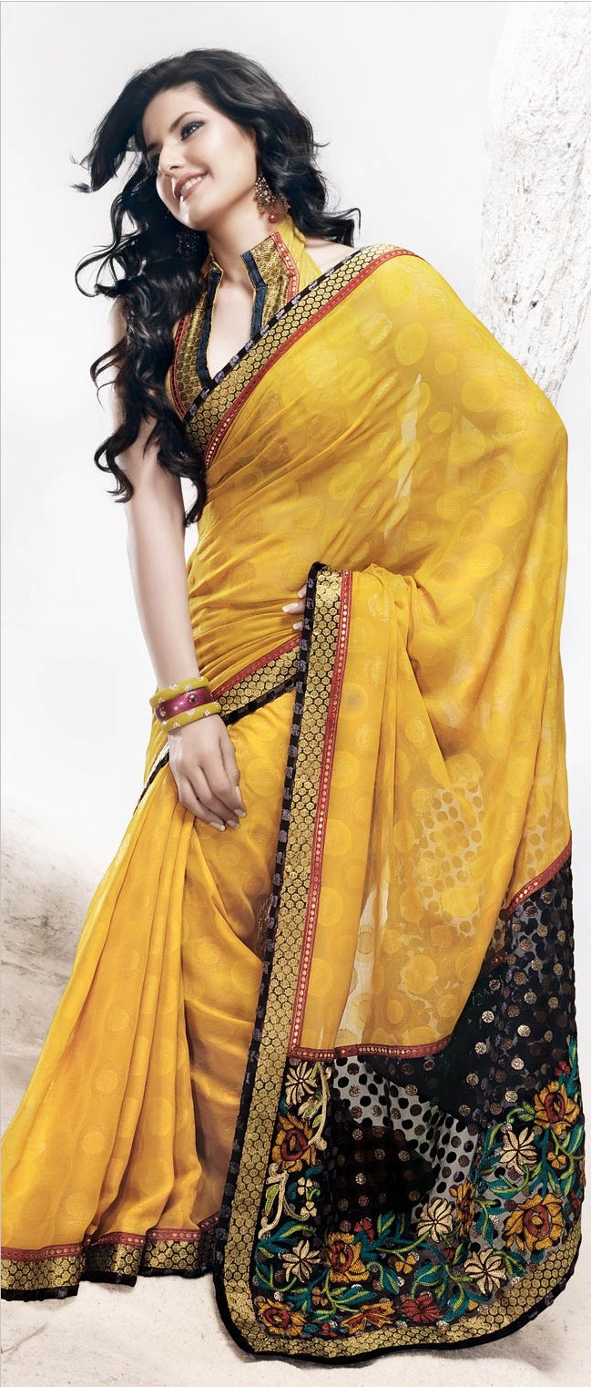 Sunrise #Yellow Faux #Georgette #Saree with #Blouse @ $51.92 | Shop @ http://www.utsavfashion.com/store/sarees-large.aspx?icode=sts499