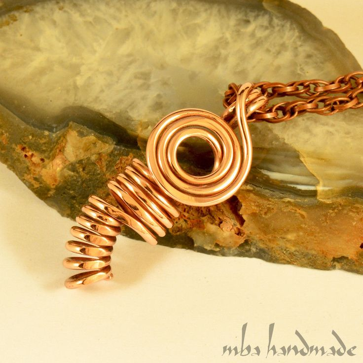 Pure Copper Antiqued Wire Wrapped Pendant Artisan Handcrafted Necklace #MbaHandmade #Wrap