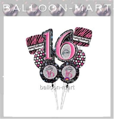 SWEET 16 pink black party decorations supplies BALLOONS ZEBRA POLKA DOTS on eBay!