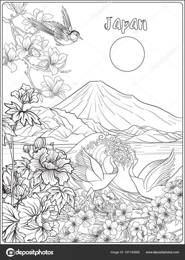 Paisaje Japones Dibujo Japons Del Paisaje Con El Monte Fuji Mar
