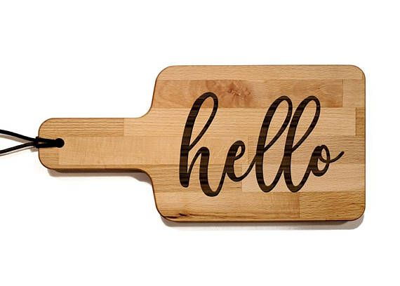 Hello Cheese Board With Handle, 6 x 11.75 inch, Wood Cutting Board, Spoon Rest, Wedding Gift, Christmas Gift, Housewarming, Decor