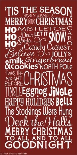 CHRISTMAS-christmas stencil word art typography subway sign 'tis the season holiday