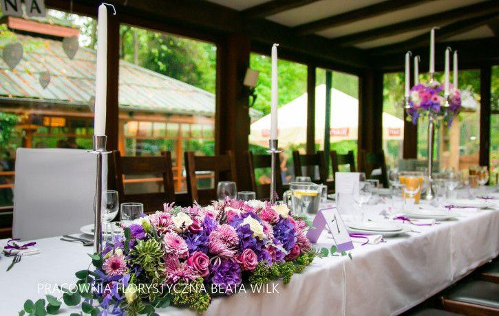 kandelabry - wrzos - dekoracja sali weselnej świece świecznik