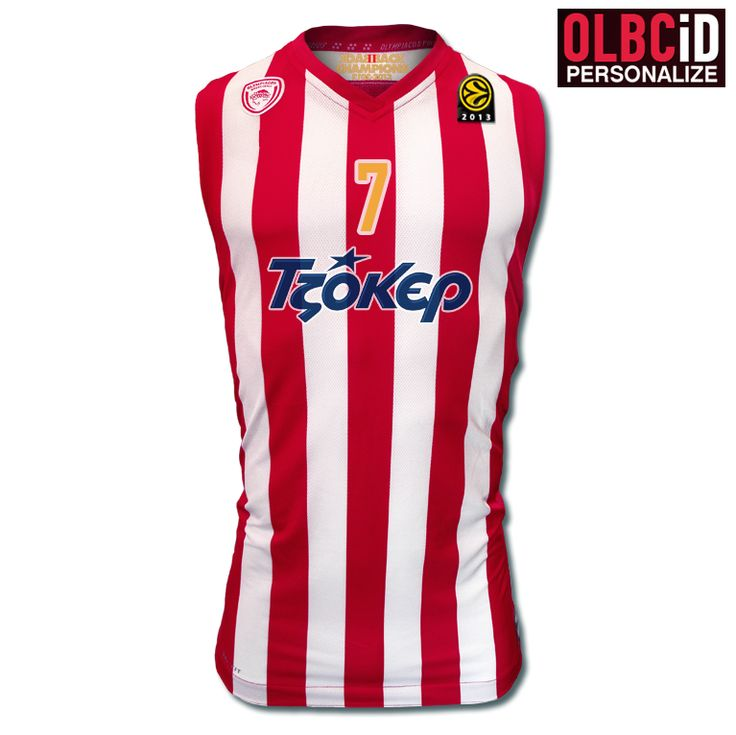 New Olympiacos BC Home Stripes-Replica Jersey Men/Kids 2013-2014