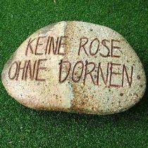Deko Prosa Stein Keramik Gartenspruch Rose Dornen