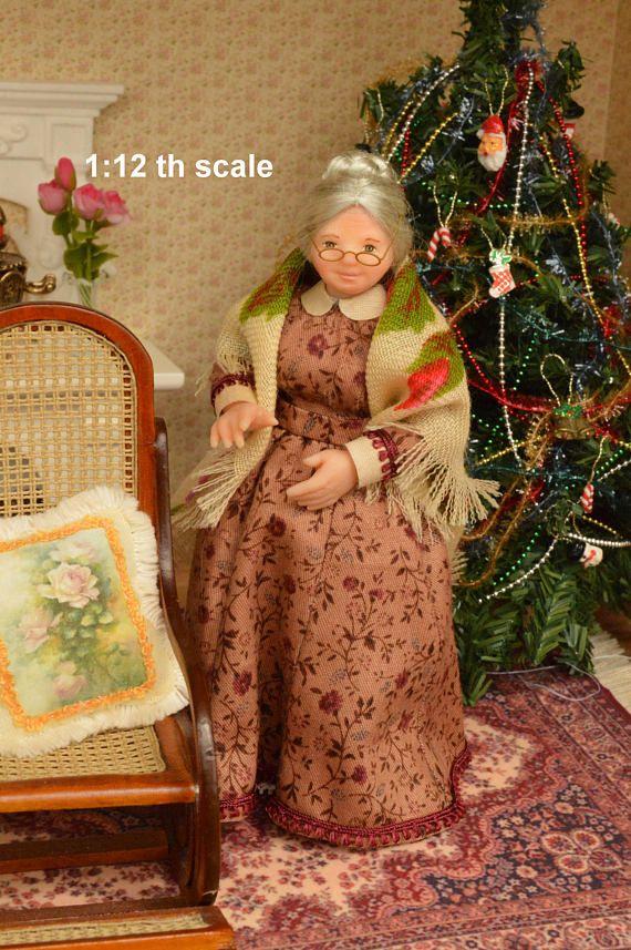 Miniature Doll Polymer Clay Grandmother Seamstress Dollhouse
