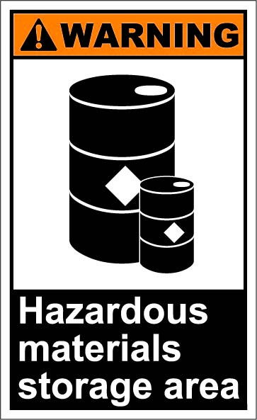 Hazardous materials storage area $1.64 #signs