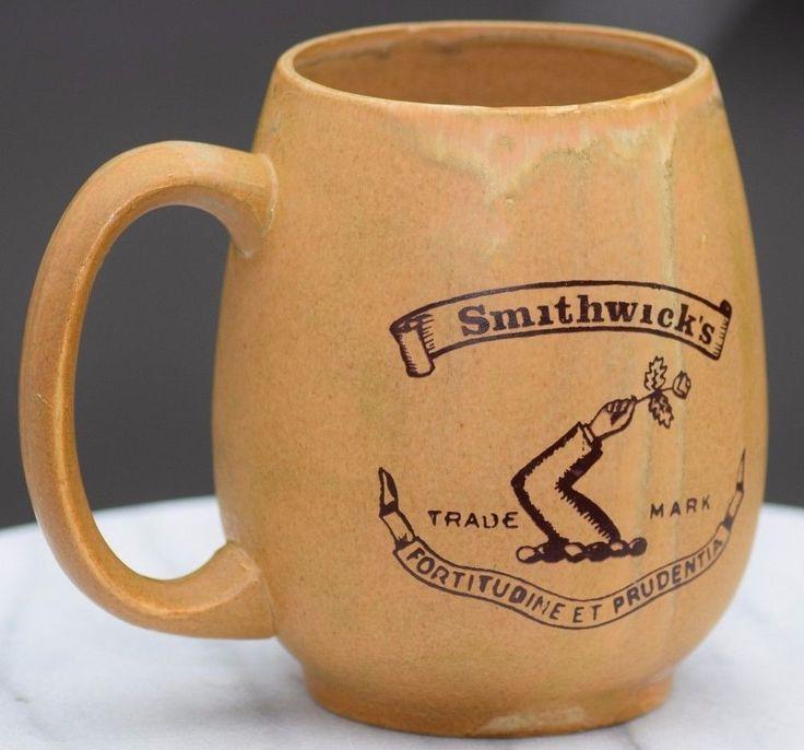 VINTAGE POTTERY SMITHWICK'S BEER MUG TANKARD BREWERIANA MAN CAVE HOME BAR DECOR