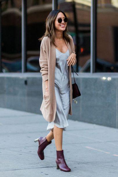 Cardigan: camel camel tumblr dress blue dress slip dress silk slip dress midi dress necklace boots