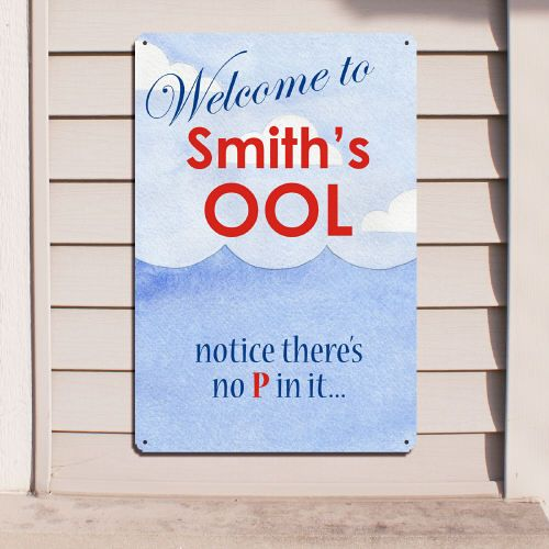 Swimming Pool Plaques Signs Wall Decor: Personalized Swimming Pool Welcome Metal Wall Sign. Swim