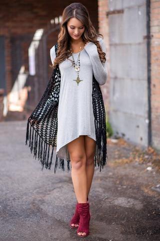 Lights Go Down Crochet Fringe Duster Vest (Black) - NanaMacs.com - 1