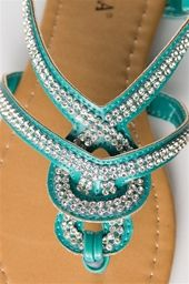 Woven Jeweled Thong Sandal - Turquoise