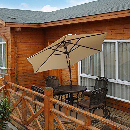 Outdoor 9' Patio Market Table Umbrella w/ Tilt and Crank Garden Pool Outdoor NEW #OutdoorPatioUmbrella